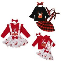 Toddler Kids Baby Girls Christmas Outfit Tops Plaid Suspender Skirt 3PCS Clothes