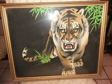 Vintage Tiger Painting on Silk Excellent Condition Signed by artist