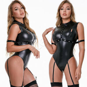 Womens PU Leather Bodysuit Wetlook Jumpsuit Zipper Lingerie Shiny Leotard Romper