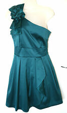 Warehouse UK10 EU38 new teal corsage one shoulder satin dress with net lining