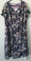 BNWT JULIPA FLORAL PRINT DRESS FULLY LINED PURPLE PINK BLUE CREAM UK 22