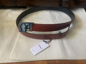 New Salvatore Ferragamo Men's Reversible Logo Leather Belt, Red/Black, Onesize