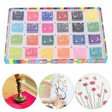 24 Color Ink Pad Inkpad Rubber Stamp Finger Print Craft Colorful Painting Safe