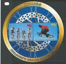 NOUVELLE-ZÉLANDE 2001 SANTÉ CYCLISTE BLOC-FEUILLET NON MONTÉS EXCELLENT ÉTAT