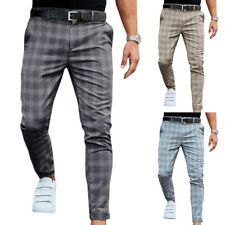Men Check Skinny Trouser Slim Fit Stretch Casual Work Office Long Pants Bottom
