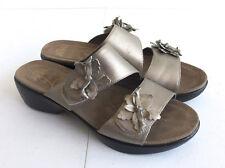 Women's Dansko Donna Pewter Metallic Slide Sandals Shoes Sz 38/ 7.5- 8 B
