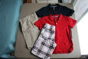 Gymboree Boy Blue / Red Polo Shirts Shorts & Khakis EUC Size 12 Lot of 4