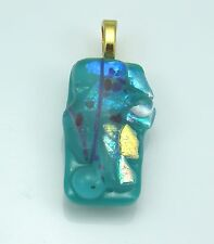 Fused Glass pendant dichroic accents, green turquoise, necklace incl. p998 MWeil