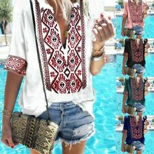 Women Summer Tunic Top Ladies Short Sleeve Gypsy Floral T-Shirt Blouse Plus Size
