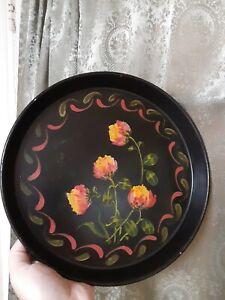 Folk Art Primitive Handpainted Flowers Vintage Tole Metal Serving Tray Toleware