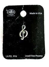 """Awesome 1/2"""" Pewter Music Note Hat Lapel Pin"""