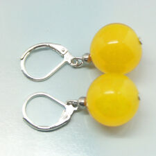 On Sale Fashion Hot Sell 10mm Yellow Jade Round Beads 18KWGP Leverback Earrings