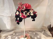 Wonderful Vintage Hat Covered With Roses , Flowers, And Velvet Tassels
