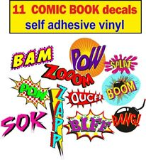 11 Comic book Sticker Bomb bumper Wall door art Vinyl car decals Retro kids game