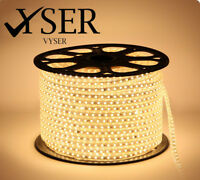 WARM WHITE LED Strip 220V-240V Waterproof 5050 SMD Lights Rope+ Free AC Adopter