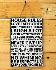 House Rules Sign Wooden Family Home Decor Plaque Gift