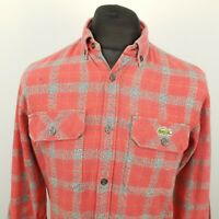 Lacoste Mens Vintage THICK Shirt SMALL Long Sleeve Red Regular Fit Check Cotton