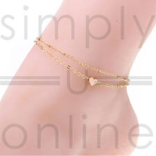 Gold Tone Love Heart Ankle Bracelet Double Layer Chain Sexy Foot Anklet