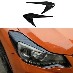 For Subaru XV 2012-2017 Exterior Head Light Lamp Cover Trim Carbon Fiber 2PCS