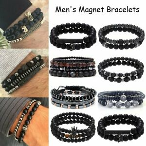 3Pc/Sets Disco Charm Bracelets 8mm Beads Stone Bracelet Men Women Jewelry Gifts