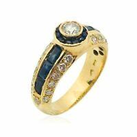 Bague saphires diamants or jaune 18k ring sapphires diamonds gold