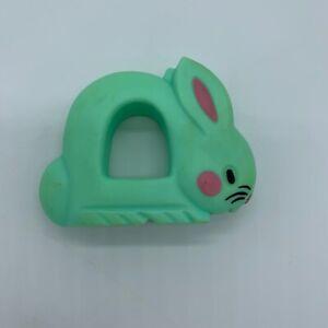 Vtg THE FIRST YEARS Light Aqua Mint Green Blue BUNNY Rabbit Baby Rattle 1977
