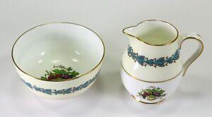 = Vintage Wedgwood Porcelain Sugar Bowl & Creamer Pitcher Set, Appledore Pattern