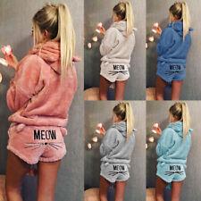 2PCS Winter Warm Women Pajamas Set Soft Bathrobe Cute Cat Pyjamas Sleepwear Pj
