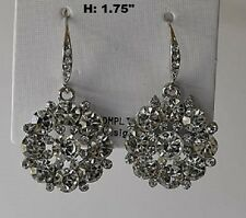 "1.75"" Long Silver Tone Clear Round Rhinestone Drop Earrings"