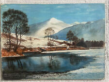 Old Oil Painting Snowdonia Winter Wales AC Adams 1970 Renovation Restoration
