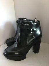 H&M Faux Patent Leather Stud Tassel Platform Heel Ankle Boots 7 41 Goth