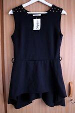 [NWT] (size 38) Long Sleeveless Asymmetric Black Top with Studs, Mimao