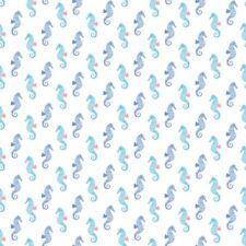 Cotton Quilt Fabric White Seahorse Dear Stella Pier Pressure Half Yard