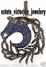 Sapphire Silver Horse Head Pendant Jewelry Vintage Style 3.01ct Rose Cut Diamond