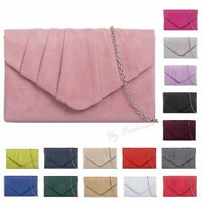 Pleated Suede Wedding Ladies Party Prom Evening Clutch Hand Bag Purse HandBag