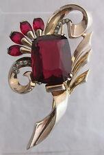 Vintage Mazer Sterling Silver Gold Wash Floral Spray Dark Ruby Red Brooch Pin