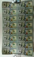 16 UNCUT SHEET $100 $100x16 USA $100 DOLLAR BILLS Rare Real Currency Notes
