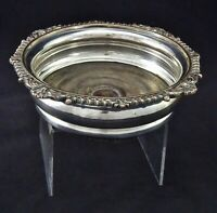 ART NOUVEAU ORNATE SILVER PLATED ON COPPER CHAMPAGNE WINE BOTTLE COASTER DINING