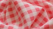 CREPE FABRIC - GINGHAM DESIGN - BABY PINK & OFF WHITE COLOUR