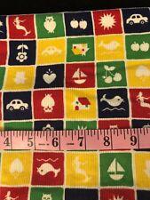 "Vintage Childrens Primary Color Block Print Corduroy Fabric 27""x43"" Mermaid Car"