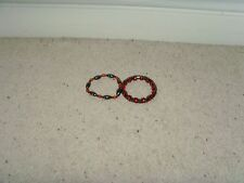 2 x Magnetic Hematite Bracelets Grey and Red/Orange Stretchy Band