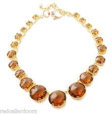 NEW Henri Bendel Hand Me Down Statement Necklace 18k Gold GP Amber Crystals $228