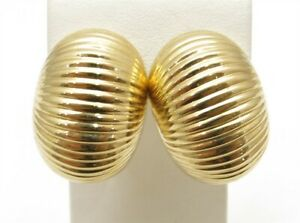 14K Yellow Gold Textured Oval Dome Omega Back Earrings