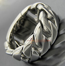 Huge Heavy Stainless Steel Silver Cuban Link Chain Mens Bracelet Bangle 270 Gram
