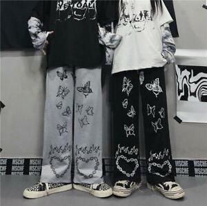 Y2K Women Pants Gothic Wide Leg Trousers Vintage Dark Street Butterfly Print