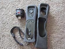 Black Wii Remote / Nunchuck Controller Nintendo Genuine OEM w/ Motion Adapter