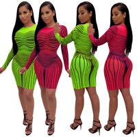 Women Long Sleeves Stripes Print Mesh Perspective Bodycon Mini Club Party Dress