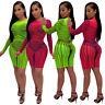 Sexy Women Mesh Perspective Crew Neck Long Sleeve Bodycon Club Party Mini Dress