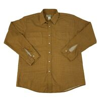 Haband Mens Size Large Beige/Brown Long Sleeve Pearl Snap Shirt