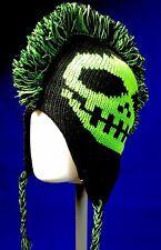 Neon Green Mohawk Skull Beanie Winter Ski Hat Ear Flap Fleece Lined Trapper os